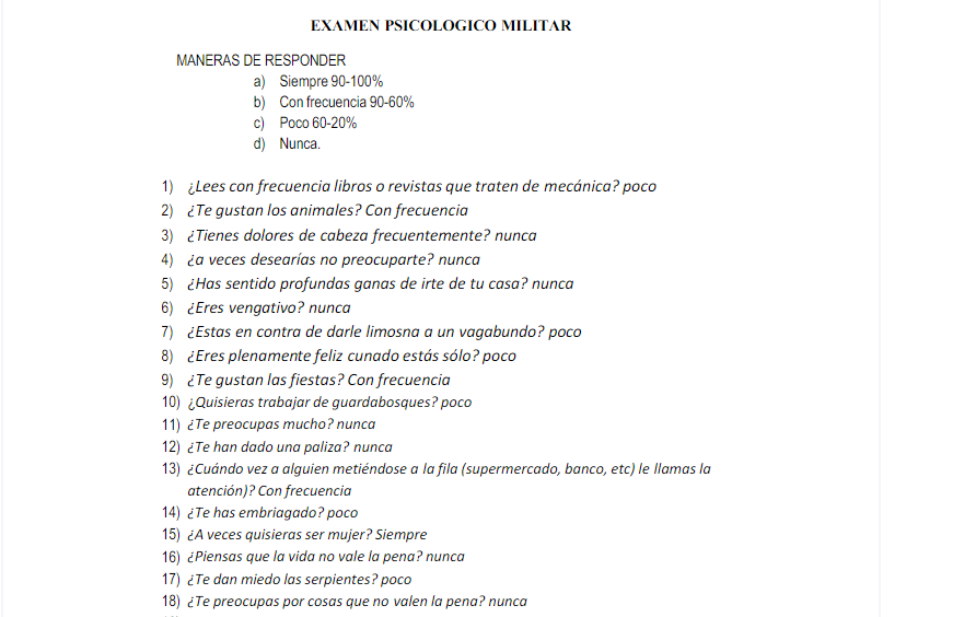 Examen psicológico militar 1