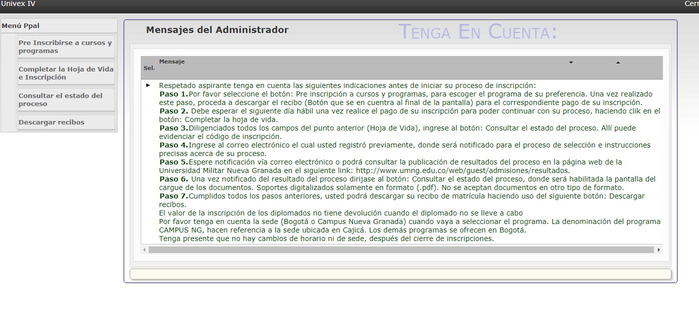 Inscripción universidad militar Nueva Granada Cajica 3